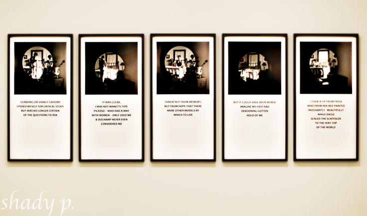Not Manet's Type by Carrie Mae Weems, 2010, series of 5 digital prints, 40 x 20 inches each