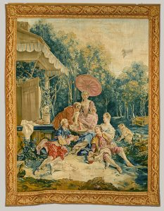 The Collation: From the Fêtes Italiennes (Italian Village Scenes), 1734–36 Designed by François Boucher (1703–1770); Woven at the Beauvais workshop under the direction of André Charlemagne Charron (active 1754–80), 1762 French Wool and silk; 130 x 102 in. (330 x 259 cm), http://www.metmuseum.org/toah/works-of-art/64.145.3